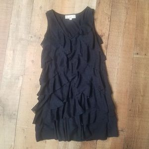 Ann Taylor LOFT Black Ruffle Dress Petite 4P